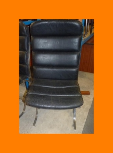 MARSH BLACK LEATHER PADDED RIBBED SEAT CHROME FEET EASY CHAIR